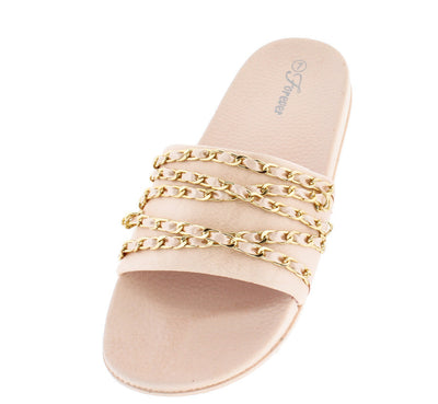 Izzy35 Pink Gold Chain Slide on Sandal - Wholesale Fashion Shoes