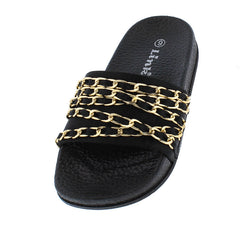IZZY35K BLACK GOLD CHAIN SLIDE ON KIDS SANDAL - Wholesale Fashion Shoes