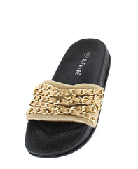 IZZY35K GOLD CHAIN SLIDE ON KIDS SANDAL - Wholesale Fashion Shoes