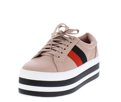 J1053 Pink Striped Lace Up Platform Sneaker Flat - Wholesale Fashion Shoes