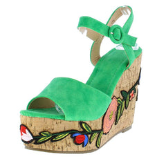 LALA139 GREEN WOMEN'S WEDGE - Wholesale Fashion Shoes