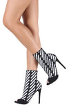 Crystal101 Black Two Tone Peep Toe Stiletto Boot - Wholesale Fashion Shoes