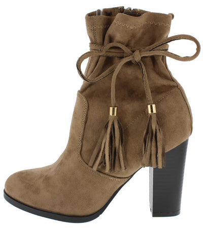 Jessie Taupe Slouch Shaft Wrap Around Strap Tassel Ankle Boot - Wholesale Fashion Shoes