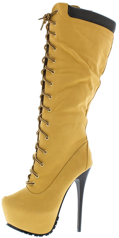Jlo02 Tan Lace Up Utility Platform Boot - Wholesale Fashion Shoes