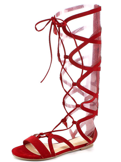Kathy Red Cage Lace Up Open Toe Boot - Wholesale Fashion Shoes