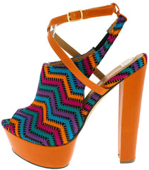 JOYCE3A TURQUOISE ORANGE CHEVRON PEEP TOE HEEL - Wholesale Fashion Shoes - 1