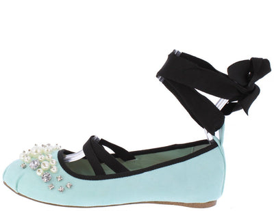 Jacey02 Turquoise Pearl Rhinestone Dual Strap Ankle Wrap Ballet Flat - Wholesale Fashion Shoes