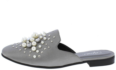 Jacinta Gun Almond Toe Rhinestone Pearl Stud Mule Loafer Flat - Wholesale Fashion Shoes