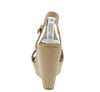 Jacoby Natural Nubuck Pu Perforated T Strap Slingback Wedge - Wholesale Fashion Shoes