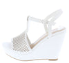 Jacoby Off White Nubuck Pu Perforated T Strap Slingback Wedge - Wholesale Fashion Shoes