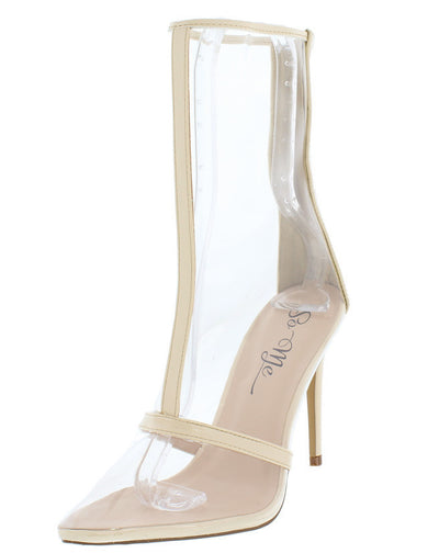 William Nude Lucite Pointed Toe Stiletto Ankle Boot - Wholesale Fashion Shoes