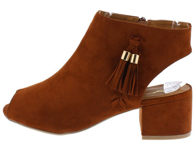 Jaden09 Whiskey Suede Pu Tassel Short Heel Ankle Boot - Wholesale Fashion Shoes