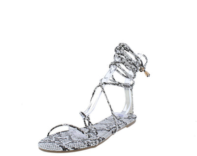 Vanessa241 White Snake Open Toe Cross Strap Ankle Wrap Sandal - Wholesale Fashion Shoes