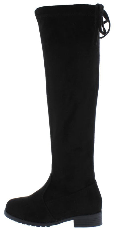 Jalenh4k Black Back Tie Knee High Kids Boot - Wholesale Fashion Shoes