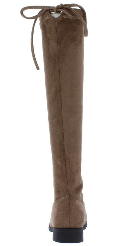Jalenh4k Taupe Back Tie Knee High Kids Boot - Wholesale Fashion Shoes