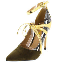 JAMIE11 OLIVE  POINTED TOE MULTI-MATERIAL WOMEN'S HEEL - Wholesale Fashion Shoes
