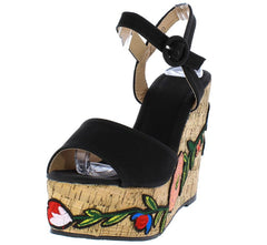 LALA139 BLACK WOMEN'S WEDGE - Wholesale Fashion Shoes