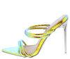 Jandy Hologram Strappy Open Toe Lucite Stiletto Heel - Wholesale Fashion Shoes