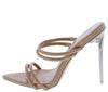 Jandy Nude Crocodile Strappy Open Toe Lucite Stiletto Heel - Wholesale Fashion Shoes