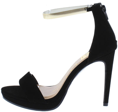 Janet02 Black Nubuck Pu Open Toe Metallic Ankle Strap Heel - Wholesale Fashion Shoes