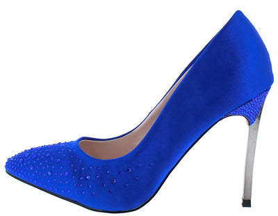 Janice11 Royal Blue Embellished Pointed Toe Metallic Heel - Wholesale Fashion Shoes