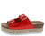 Jans20 Red Dual Buckle Strap Platform Mule Slide Wedge