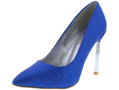 Jasmin2 Blue Shimmer Pointed Toe Metallic Stiletto Heel - Wholesale Fashion Shoes