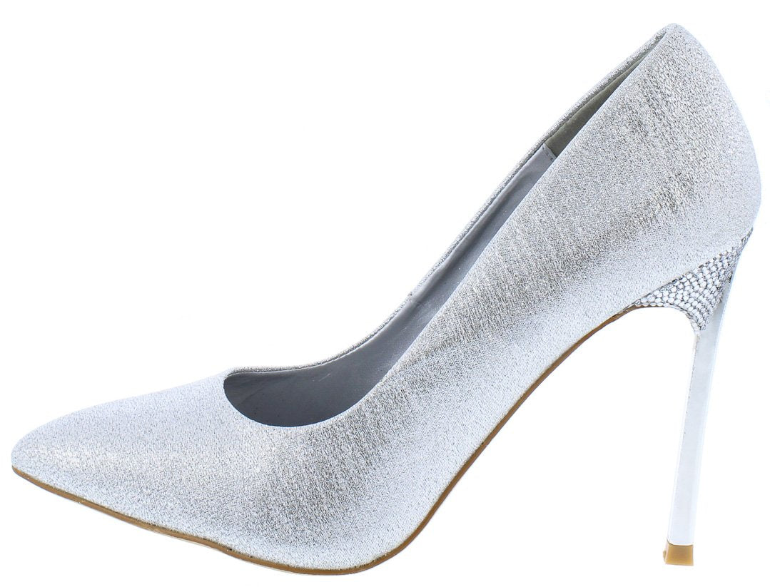 f45bc7614d3 Jasmin2 Silver Shimmer Pointed Toe Metallic Stiletto Heel - Wholesale  Fashion Shoes