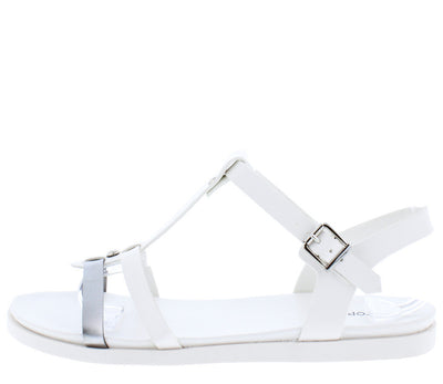 Jay12 White Metallic T-strap Gladiator Flat Sandal - Wholesale Fashion Shoes
