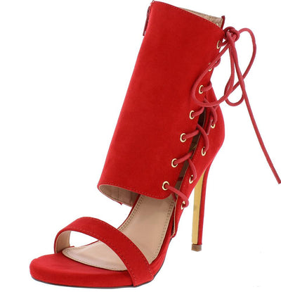 Jazz Red Suede Side Shaft Lace Up Open Toe Heel - Wholesale Fashion Shoes