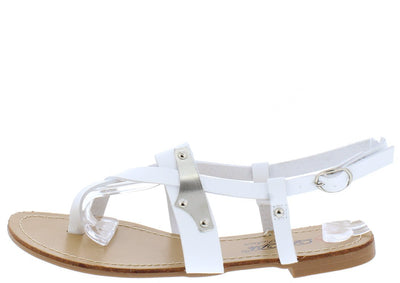 Jazzy4 White Plate Detail Strappy Slingback Thong Sandals - Wholesale Fashion Shoes