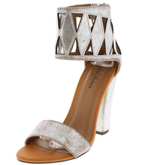 NATASHA03 SILVER METALLIC DISTRESSED OPEN TOE BLOCK HEEL - Wholesale Fashion Shoes