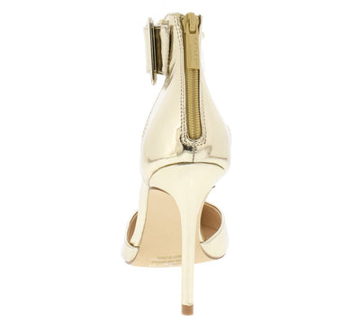 Jeanina1 Gold Pointed Toe Multi Ankle Strap Stiletto Heel - Wholesale Fashion Shoes