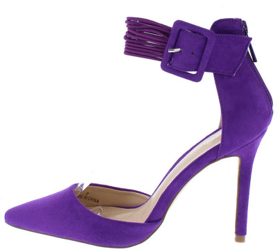 Jeanina1 Purple Pointed Toe Multi Ankle Strap Stiletto Heel - Wholesale Fashion Shoes
