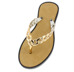 ANNA BLACK GOLD CHAIN THONG SANDAL - Wholesale Fashion Shoes
