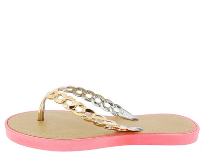 Anna Coral Gold Chain Thong Sandal - Wholesale Fashion Shoes