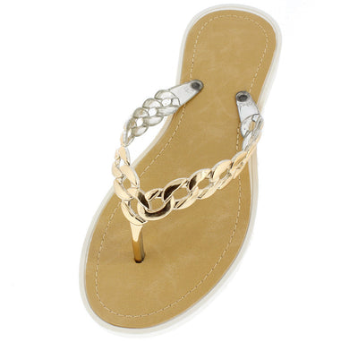 Anna White Gold Chain Thong Sandal - Wholesale Fashion Shoes