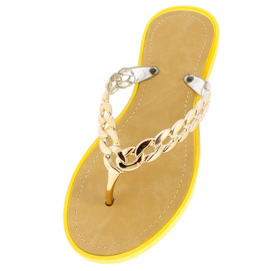 Anna Yellow Gold Chain Thong Sandal - Wholesale Fashion Shoes