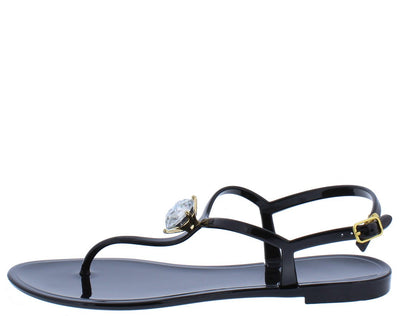 Ellen033 Black Thong Open Toe T Strap Rhinestone Sandal - Wholesale Fashion Shoes