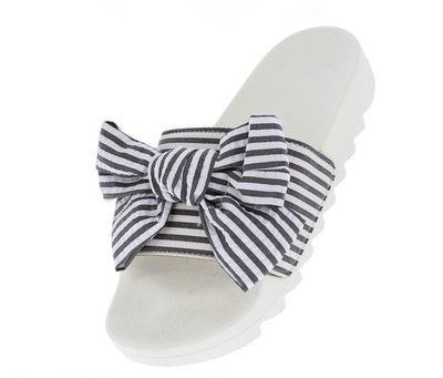 Anna070 Black Striped Bow Open Toe Lug Sole Mule Sandal - Wholesale Fashion Shoes