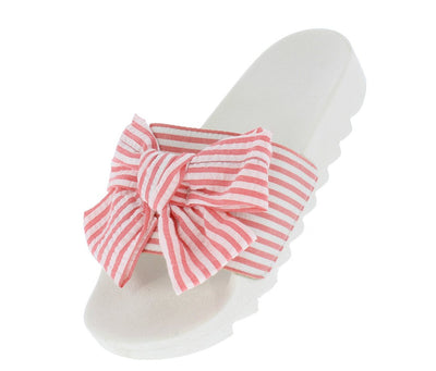 Anna070 Pink Striped Bow Open Toe Lug Sole Mule Sandal - Wholesale Fashion Shoes
