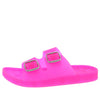 Leslie124 Hot Pink Dual Strap Open Toe Slide Sandal - Wholesale Fashion Shoes