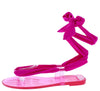 Melly210 Fuchsia Open Toe Ankle Wrap Flat Thong Sandal - Wholesale Fashion Shoes
