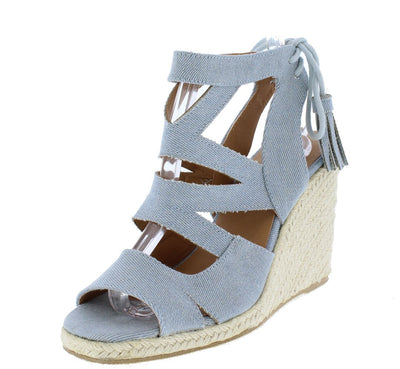 Jello02 Pale Blue Denim Cut Out Peep Toe Espadrille Wedge - Wholesale Fashion Shoes