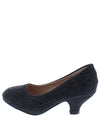 Jemma32k Black Sparkle Almond Toe Kids Low Heel - Wholesale Fashion Shoes