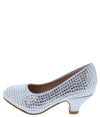 Jemma32k Silver Sparkle Almond Toe Kids Low Heel - Wholesale Fashion Shoes