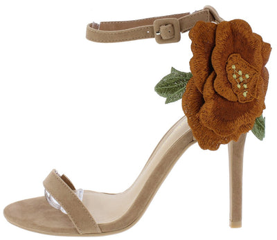 Jenae Taupe Open Toe Ankle Strap Flower Applique Heel - Wholesale Fashion Shoes