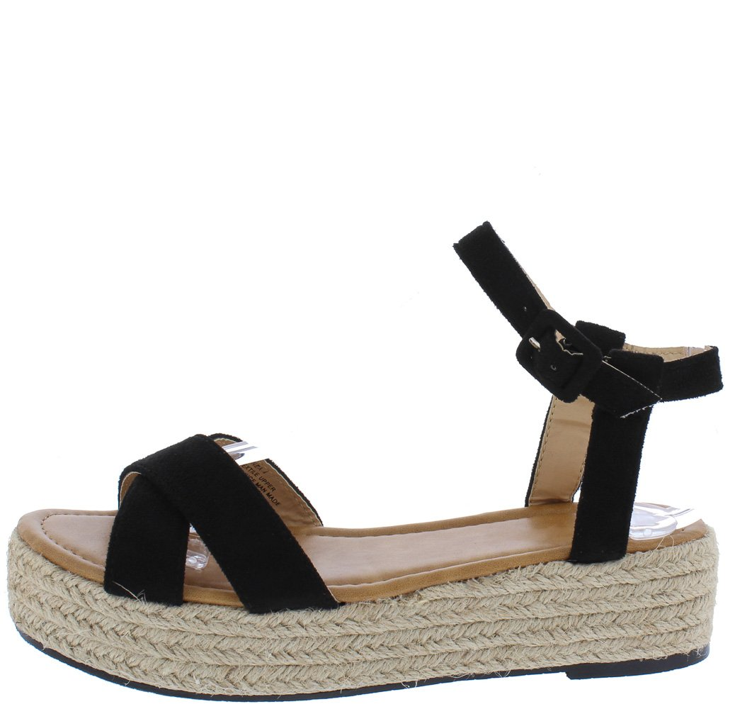2d7b35a8002 Kandi158 Black Cross Open Toe Ankle Strap Espadrille Wedge