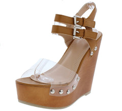NORA210 TAN CLEAR OPEN TOE DOUBLE ANKLE STRAP WOOD WEDGE - Wholesale Fashion Shoes