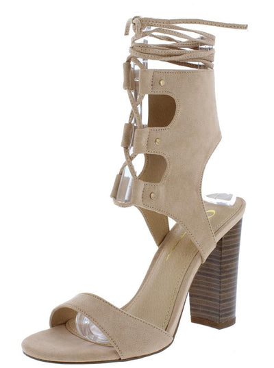 Jenner Camel Open Toe Cut Out Lace Up Tapered Heel - Wholesale Fashion Shoes